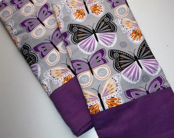 Flannel PAIR pillowcases Butterflies Butterfly Nature Purple Lavender cuddly soft bedding winter linens