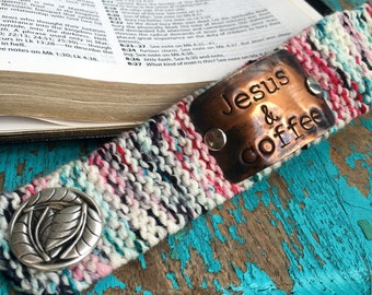 Jesus and Coffee Christian Bracelet, Custom Hand Stamped Bracelet Cuff, Personalized Black and White Knit Wrist Cuff