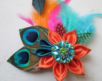 Teal & Orange Summer Bridal Head Piece, Birdcage Veil, Beach Wedding Hair Piece, Kanzashi Flower, Hawaiian Theme Wedding Fascinator,