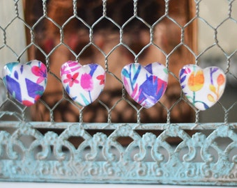 Heart Shaped Floral Magnets, Set of 4