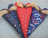 Americana Heart Bowl Fillers - Set of 3 - Primitive Hearts - Patriotic Grungy Fabrics - July 4th Decor - Primitive Americana Bowl Fillers