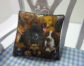 Dollshouse Miniature Cushion, Pillow. Dogs in Black and Yellow