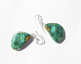 Sale, Very Beautiful Jasper Earrings, 925 Silver, One of a Kind