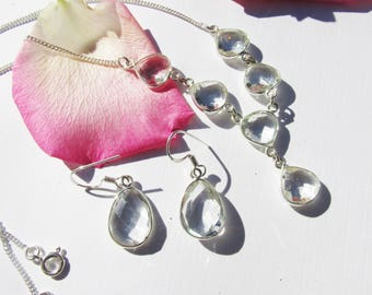 Very Beautiful Clear Crystal Quartz Set: Necklace and  Earrings, 925 Silver, Prom, Wedding, Healing, Positive Energy