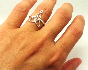Celtic Mother and 2 Child Knot Ring - Silver Mother Child Celtic Knot Jewelry - Celtic Mother Daughter Knot Ring - Gift for Mama, Irish Ring