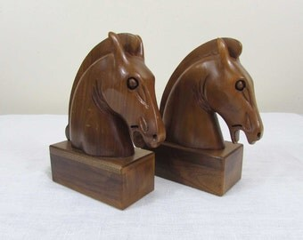 "Carved Walnut Wood Horse Bookends - 7.25"" high - individually carved - marked ""Solid American Walnut"" - ca 50s"