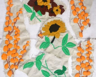 Floral Crewel Patches - 1970s Orange Green Yellow Cotton Swatches - Vintage Appliques - Set of 6