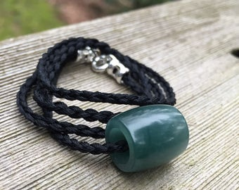 Hand Carved Blue Guatemalan Translucent Jadeite Bead Necklace