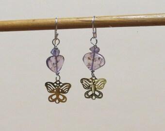 Earrings - Ametrine and purple amethyst gemstones with golden butterfly.  #EAR-033