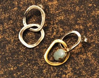 Aquamarine Stud Earrings, Dangle Links Asymmetric Earrings, Women's Brass Aquamarine Earrings, Boho Silver Gold Drop Earrings, Gift for her