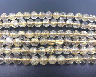 8mm Round Quartz Rutilated Gold Aa Grade Bead Semiprecious Gemstone Bead String Beading 15''L Jewelry Supply Wholesale Beads
