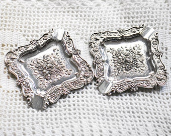 SALE - reduced from USD58  - 2 Vintage Sterling Silver Ashtrays - Carved  - Rose floral motifs