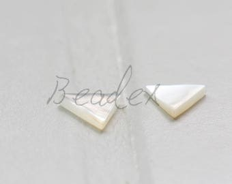 2 Pieces / Triangle / Cabochons / Shell 6.75*1.5mm
