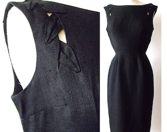 Black LEAF CUTOUT Wiggle Party Dress ~ 50's Black Linen Sleeveles Dress with Cutouts and Leaf Appliques ~ Size XS