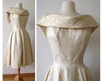 50's CHAMPAGNE SILVER Brocade Party Dress ~ Sleeveless Crinoline Wedding Dress ~ Gigi Young of New York