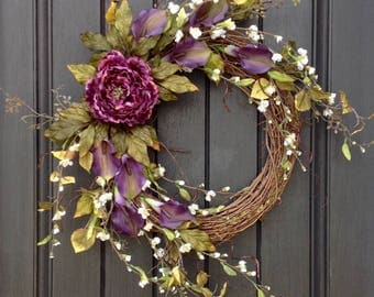 "Spring-Summer Wreath-Wispy White Florals-Door Wreath-Grapevine Wreath Decor-Purple Lilies-Purple Peony-Indoor/Outdoor ""Purple Passion"""