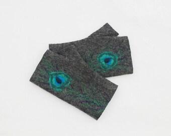Felted Fingerless Gloves Fingerless Mittens Arm warmers Wristlets Merino Wool  Gray