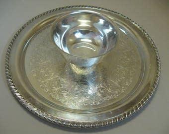 Silver Plate Chip & Dip Bowl Attach Tray Flower Leaf Design Wm A Rogers Silver Co  1890-1929
