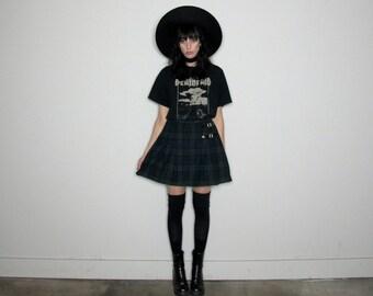 TARTAN Plaid HIGH WAIST Vintage Skirt Kilt Style Check Print Buckles Vintage Size 33/34 Waist