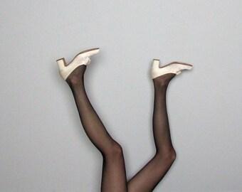 CREAM SATIN Vintage Granny Heel BOW Tie Shoes Womens Size 7.5