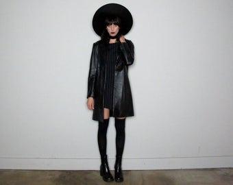 BLACK LEATHER Jacket LONGLINE 90s Minimal Womens Grunge Vintage Size M/L