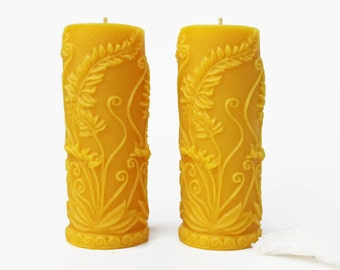 Beeswax Fern Pillar Candle, pair, pure beeswax pillars