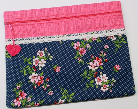 Cherry Blossoms on Navy Cross Stitch Embroidery Project Bag