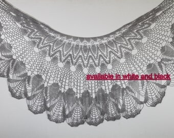 Gray Shawl Gray Wraps Shawl  Crocheted Lace Shawl  lace knit shawl, knit shawl scarf  Handknit Clothing crochet shawl