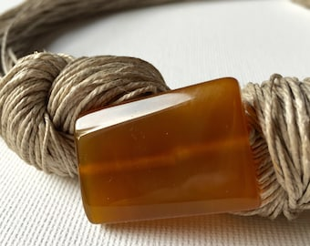 Honey Agate- linen necklace