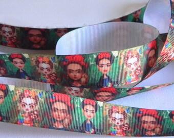 "Frieda Kahlo Grosgrain Ribbon 5 yards of 7/8"" Freida Kahlo Print Green Ribbon for Sewing Hair Bows Spanish Artist with Monkey Unique Ribbon"