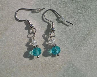 Ayla's Bead Creations Aqua blue and Clear faceted crystal earrings