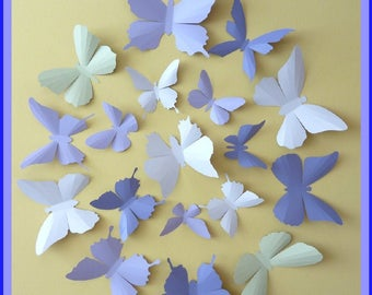 3D Wall Butterflies - 15 Lavender, Lilac Purple, Tea Green, Pink White,  Butterfly Silhouettes, Nursery, Home Decor, Wedding Decor