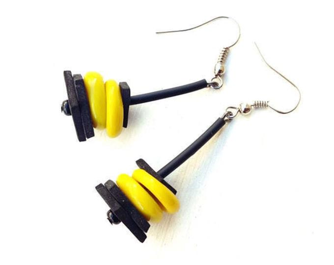 Glass circle earrings - Lemon glass circle pendant earrings - Yellow earrings - neon yellow earrings