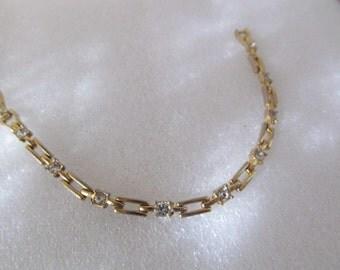 Vintage Gold Tone Rhinestone Link Bracelet