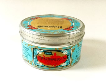 Vintage Russian Tea Tin Kousmichoff Tea Canister Container