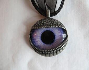 "19"" Eye Pendant Necklace with Black Ribbon, Necklace, Eye, Pendant, Blue, Ribbon, Black"
