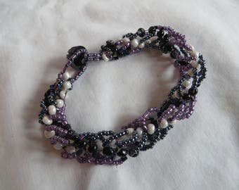 "8"" Beaded Twist Bracelet, Bracelet, Blue, Button, Beadwork, Spiral, Purple"