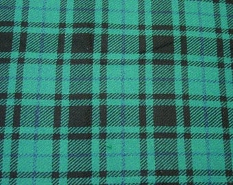 "Vintage Wool Fabric, Turquoise & Black Plaid, Lt. to Med. Clothing Weight, 60"" Wide 2 Yards 8"", c.1960's"