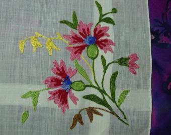 Vintage Hanky,Handkerchief Gorgeous Soutache Embroidery