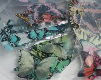 Assorted edible butterflies grab bag, various colors, 25 or more per packet. Wafer paper butterflies, wedding cake butterflies cake topper