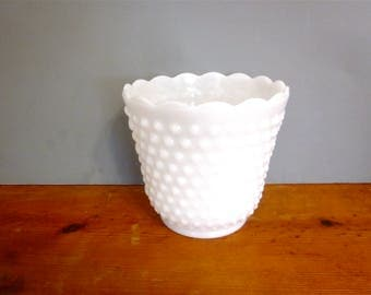 Vintage hobnail Fire King white milk glass planter,  shabby chic vase
