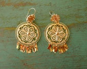 "Mexican filagree Tehuana earrings dangle Oaxaca gold-wash traditional boho Frida Kahlo medium 3"" drop"