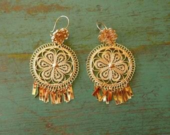 "Mexican filagree Tehuana earrings dangle Oaxaca gold-wash traditional boho Frida Kahlo medium 3"" drop"