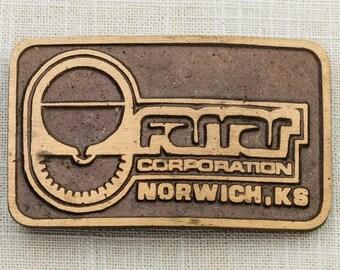 Farrar Corporation Belt Buckle Norwich Kansas Brushed Gold Vintage Belt Buckle 7F