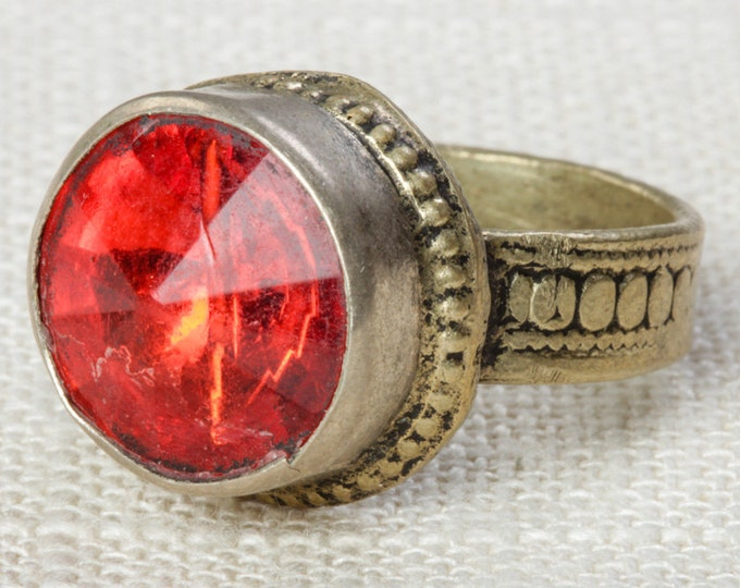 Red & Silver Vintage Afghan Ring Handmade in Afghanistan US Size 9 Unisex Old Glass Tribal Ethnic Statement Ring 16R