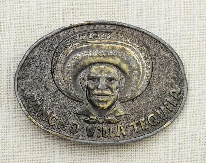 Pancho Villa Tequila Belt Buckle General Francisco 1877-1923 Liquor Mexican Man Sombrero Lewis Buckles Chicago Vintage 7F