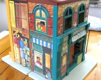 1974 Fisher Price #938 Sesame Street Playhouse with Furniture and Bert and Cookie Monster