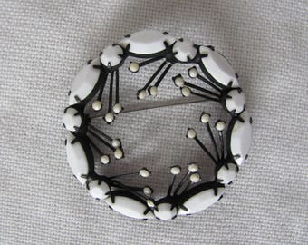 Vintage Milk Glass Brooch, White Glass Pin, Japanned Setting, 1950s Pin