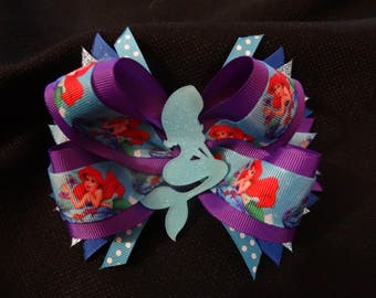 Little mermaid inspired hairbow, large 5 inch boutique bow