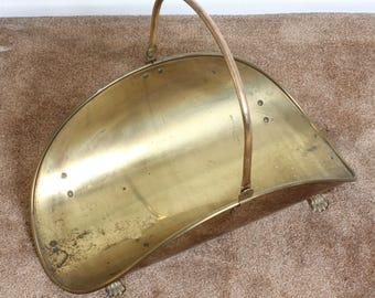 Vintage Brass Wood holder/ Wood Carrier/Log Holder/Magazine Holder/Newspaper Holder